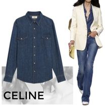 CELINE Casual Style Denim Street Style Long Sleeves Plain Cotton