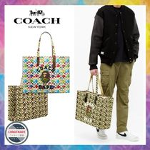 Coach SIGNATURE Unisex Canvas Blended Fabrics Collaboration A4 2WAY