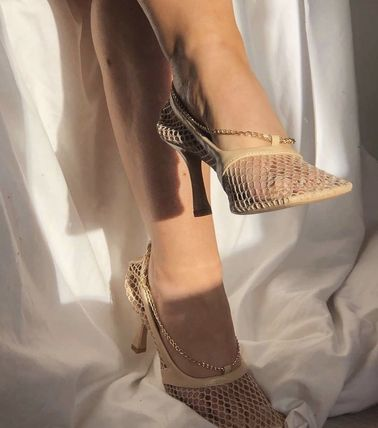 Square Toe Pin Heels Mules Heeled Sandals
