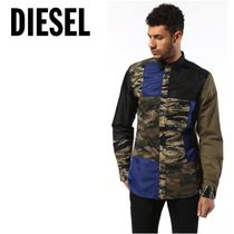 DIESEL Camouflage Street Style Long Sleeves Cotton Khaki Logo