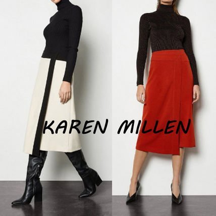 Bi-color Plain Medium Midi Skirts
