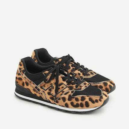 Leopard Patterns Plain Toe Lace-up Casual Style Street Style