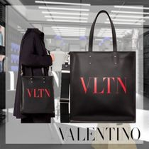 VALENTINO Leather Logo Totes