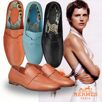 HERMES Plain Toe Leather Elegant Style Loafer & Moccasin Shoes