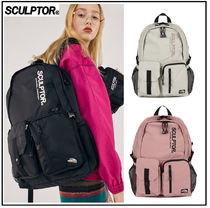 SCULPTOR Casual Style Unisex Plain Logo Backpacks