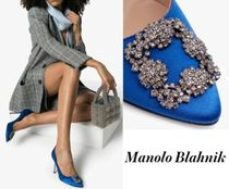 Manolo Blahnik Hangisi Stripes Blended Fabrics Leather Pin Heels With Jewels