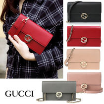 GUCCI GG Marmont Casual Style Blended Fabrics Street Style Leather
