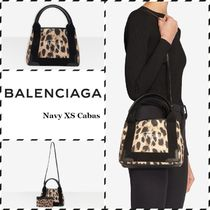 BALENCIAGA NAVY Leopard Patterns Casual Style Calfskin Canvas