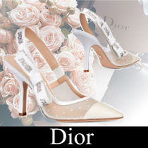 Christian Dior Dots Plain Toe Casual Style Leather Pin Heels Party Style