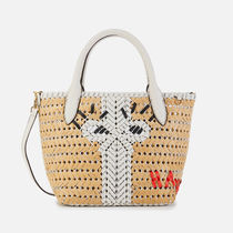 Anya Hindmarch Blended Fabrics 2WAY Leather Crossbody Logo Straw Bags