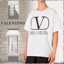 VALENTINO VLOGO Crew Neck Unisex Street Style Plain Cotton Short Sleeves