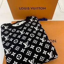 Louis Vuitton Crew Neck Monogram Unisex Street Style Long Sleeves Cotton