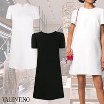 VALENTINO Short A-line Wool Plain Party Style Elegant Style