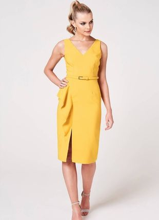 Tight Sleeveless Flared V-Neck Plain Medium Party Style Midi
