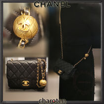 CHANEL MATELASSE Casual Style Lambskin 3WAY Chain Plain Leather Party Style