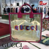 GUCCI Star Casual Style Crystal Clear Bags Totes