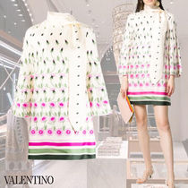 VALENTINO Short Flower Patterns Casual Style A-line Silk Long Sleeves