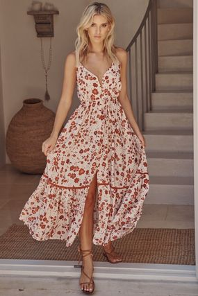 Flower Patterns Casual Style Maxi Sleeveless Flared V-Neck