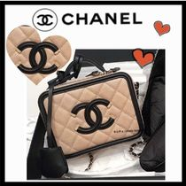 CHANEL ICON Calfskin Vanity Bags 2WAY Chain Plain Party Style