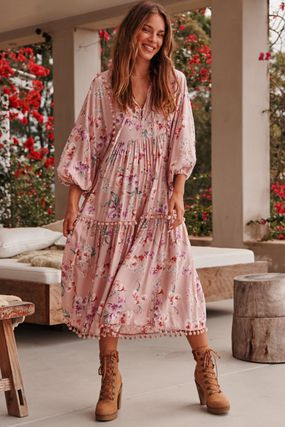 Flower Patterns Casual Style V-Neck Party Style Puff Sleeves