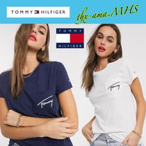 Tommy Hilfiger Crew Neck Short Cotton Medium Short Sleeves Logo Cropped