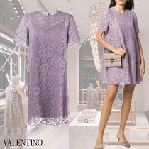 VALENTINO Short Flower Patterns Short Sleeves Party Style Lace