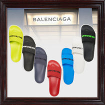 BALENCIAGA Unisex Shower Shoes Logo Shower Sandals