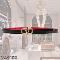 VALENTINO Casual Style Faux Fur Party Style Logo Belts