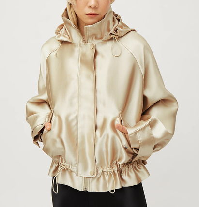 Short Unisex Street Style Plain MA-1 Oversized Nylon Jacket