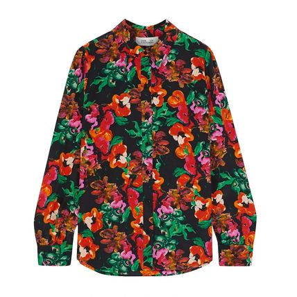 Flower Patterns Silk Long Sleeves Medium Party Style
