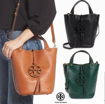 Tory Burch MILLER Plain Leather Crossbody Straw Bags