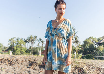 Short Tropical Patterns Casual Style Dolman Sleeves Tie-dye