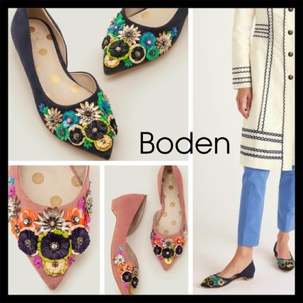 Flower Patterns Leather Party Style Elegant Style Flats