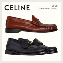 CELINE Round Toe Casual Style Enamel Bi-color Plain Leather