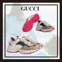 GUCCI Monogram Platform Lace-up Casual Style Blended Fabrics