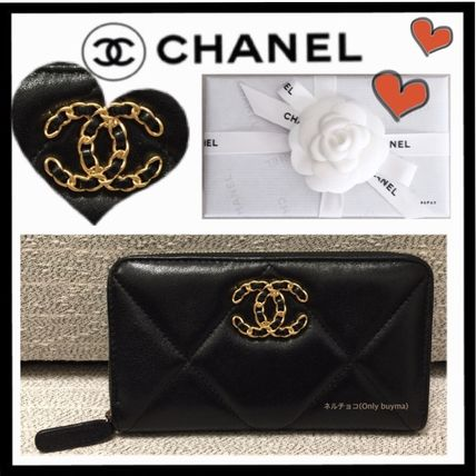 CHANEL MATELASSE Unisex Lambskin Plain Small Wallet Folding Wallets
