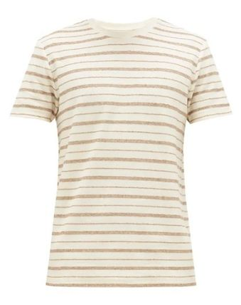 Crew Neck Pullovers Stripes Linen Cotton Short Sleeves