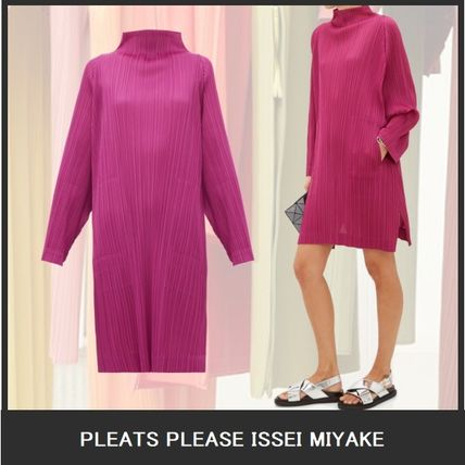 Short Casual Style A-line Flared Long Sleeves Plain Medium