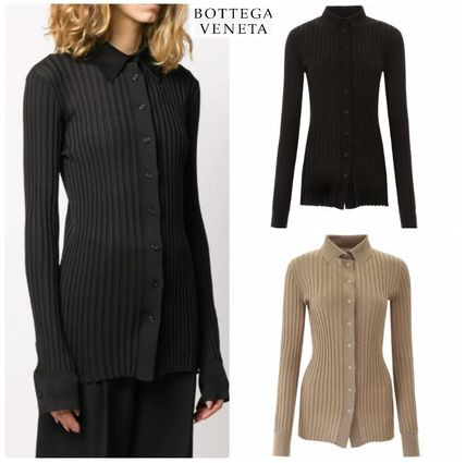 Casual Style Silk Long Sleeves Plain Office Style