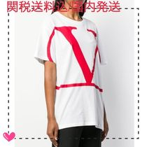 VALENTINO VLOGO Plain Cotton Oversized Logo T-Shirts