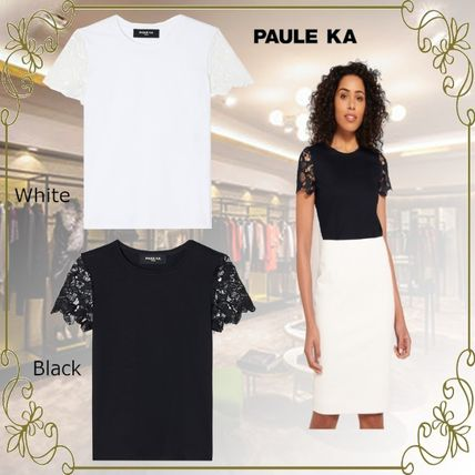 Casual Style Plain Medium Short Sleeves Lace Office Style