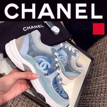 CHANEL ICON Plain Toe Rubber Sole Casual Style Unisex Suede