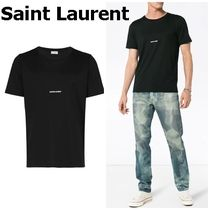 Saint Laurent Crew Neck Cotton Short Sleeves Logo Crew Neck T-Shirts