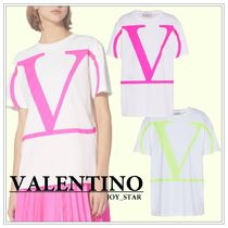 VALENTINO VLOGO Plain Cotton Short Sleeves Oversized Logo T-Shirts