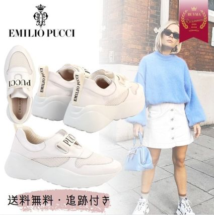 Casual Style Plain Elegant Style Logo Low-Top Sneakers