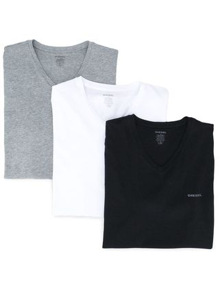 DIESEL Logo V-Neck Plain Cotton Short Sleeves V-Neck T-Shirts