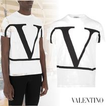 VALENTINO Crew Neck Plain Cotton Short Sleeves Long Sleeve T-shirt