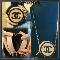 CHANEL CHAIN WALLET Casual Style Calfskin 2WAY Bi-color Chain Plain Leather
