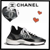 CHANEL SPORTS Unisex Suede Blended Fabrics Bi-color Plain Sneakers