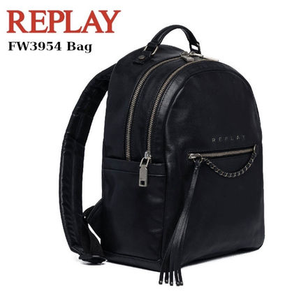 Casual Style Chain Plain Leather Backpacks
